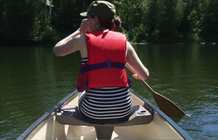 author paddling canoe in Muskoka