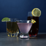 From left to right, rye and ginger, gin and raspberry soda, vodka and cranberry juice