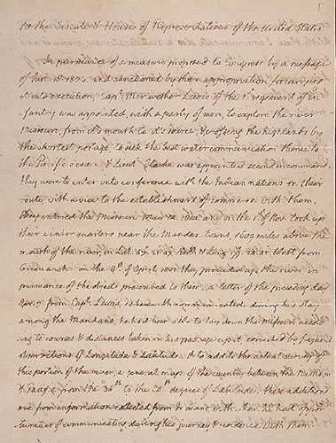 Letter from Thomas Jefferson Concerning the Lewis and Clark Expedition
