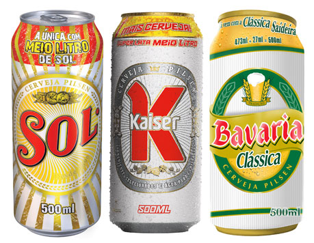 Sol, Kaiser e Bavaria. Todas com 500mL.