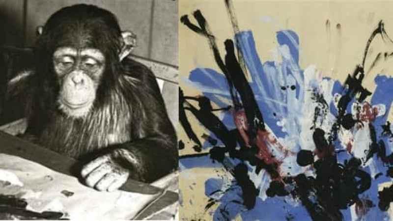 ressam şempanze ve resimi