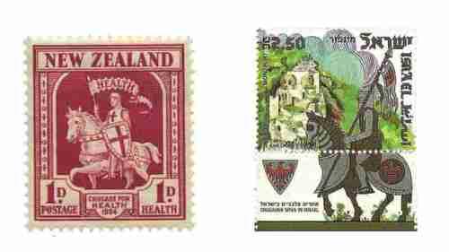 Yeni Zelanda ve İsrail posta idarelerinin çıkarttığı Haçlı Ordusu'nu gösteren pullar