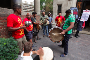 Parai drummers could be heard inside the AGM
