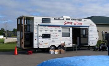 Blackhawk Fire Department provided their Safety House for demonstration. Over 80 students from Earl Hanson Elementary School went through the Safety House to complete their fire safety training.
