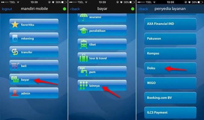 cara isi saldo doku wallet dengan mobile banking mandiri