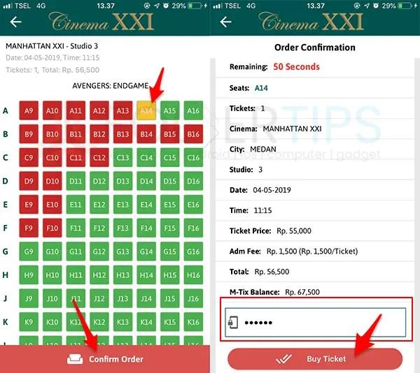Pesan Beli Tiket Bioskop Cinema XXI 21 melalui HP Android / iOS