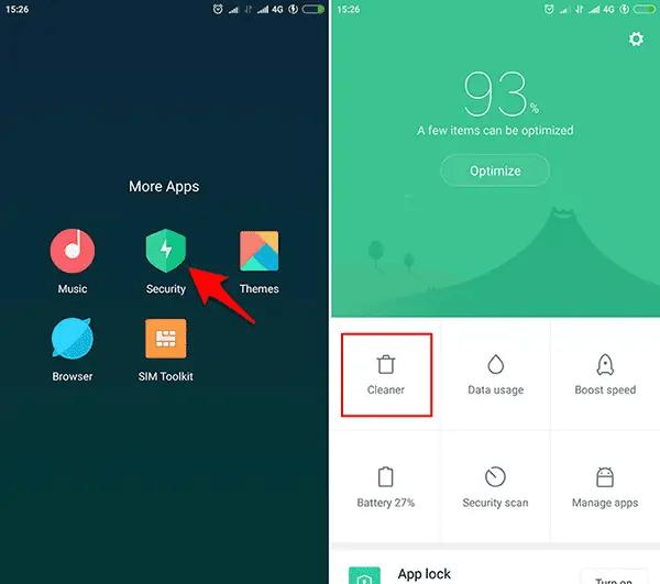 Gunakan Cleaner di Security App