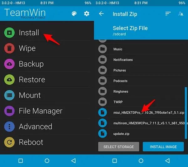 cara flashing multirom redmi 2/prime dengan twrp recovery