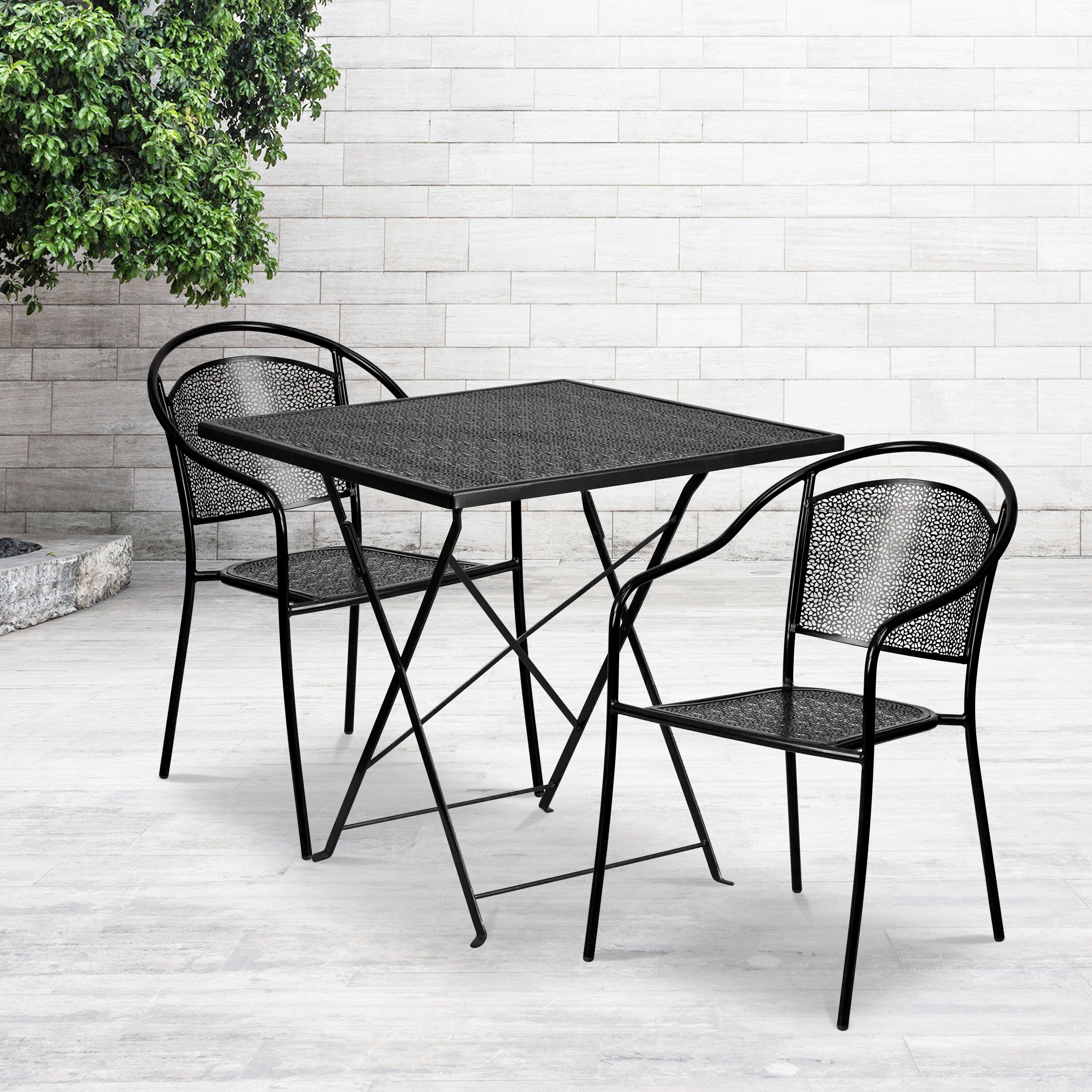 commercial grade 28 square black indoor outdoor steel folding patio table set with 2 round back chairs