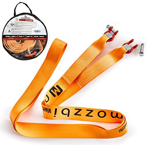 Mozzbi Recovery Tow Strap 3 with D-Ring Shackle and Loops End Heavy Duty 20000 lbs 5M Long