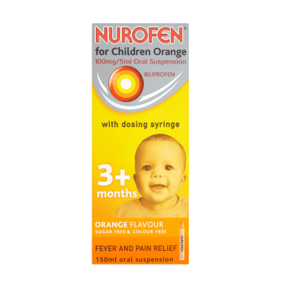 NUROFEN FOR CHILDREN 100MG/5ML IBUPROFEN 3M+ ORANGE