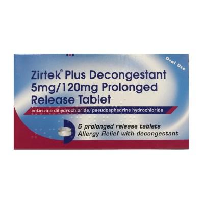 ZIRTEK PLUS DECONGESTANT 5MG/120MG PROLONGED RELEASE TABLETS (6)