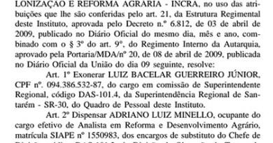 Exoneração foi publicada nesta quarta-feira (26), no DOU (Foto: Reprodução/Diário Oficial da União)
