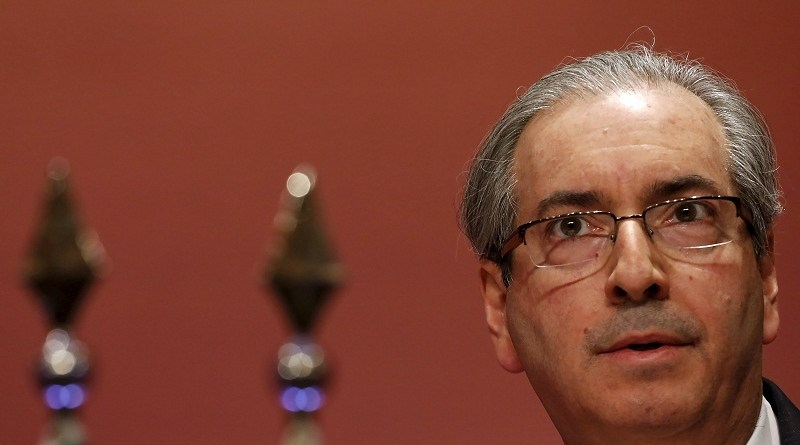 File photo of President of the Chamber of Deputies of Brazil Eduardo Cunha attending a meeting with businessmen in Sao Paulo