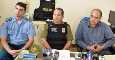 Corregedoria da PM, CPR1 e Polícia Civil participaram da coletiva de imprensa (Foto: Karina Barros/G1)