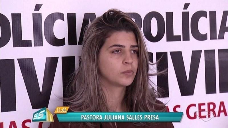 Pastora Juliana Sales Alves presa em Minas Gerais por omissão no caso da morte de filhos em incêndio no Espírito Santo (Foto: Umberto Lemos / InterTV)