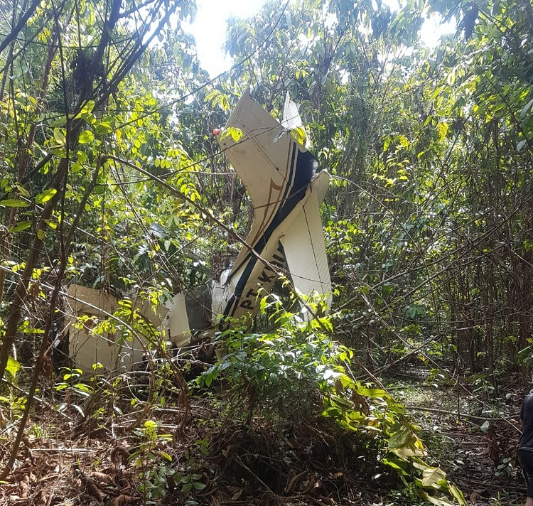 Bombeiros vão até local de acidente aéreo no Pará e encontram corpo de piloto. — Foto: Reprodução / Corpo de Bombeiros