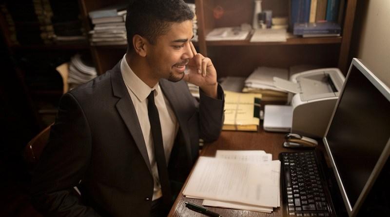 successful modern lawyer in office