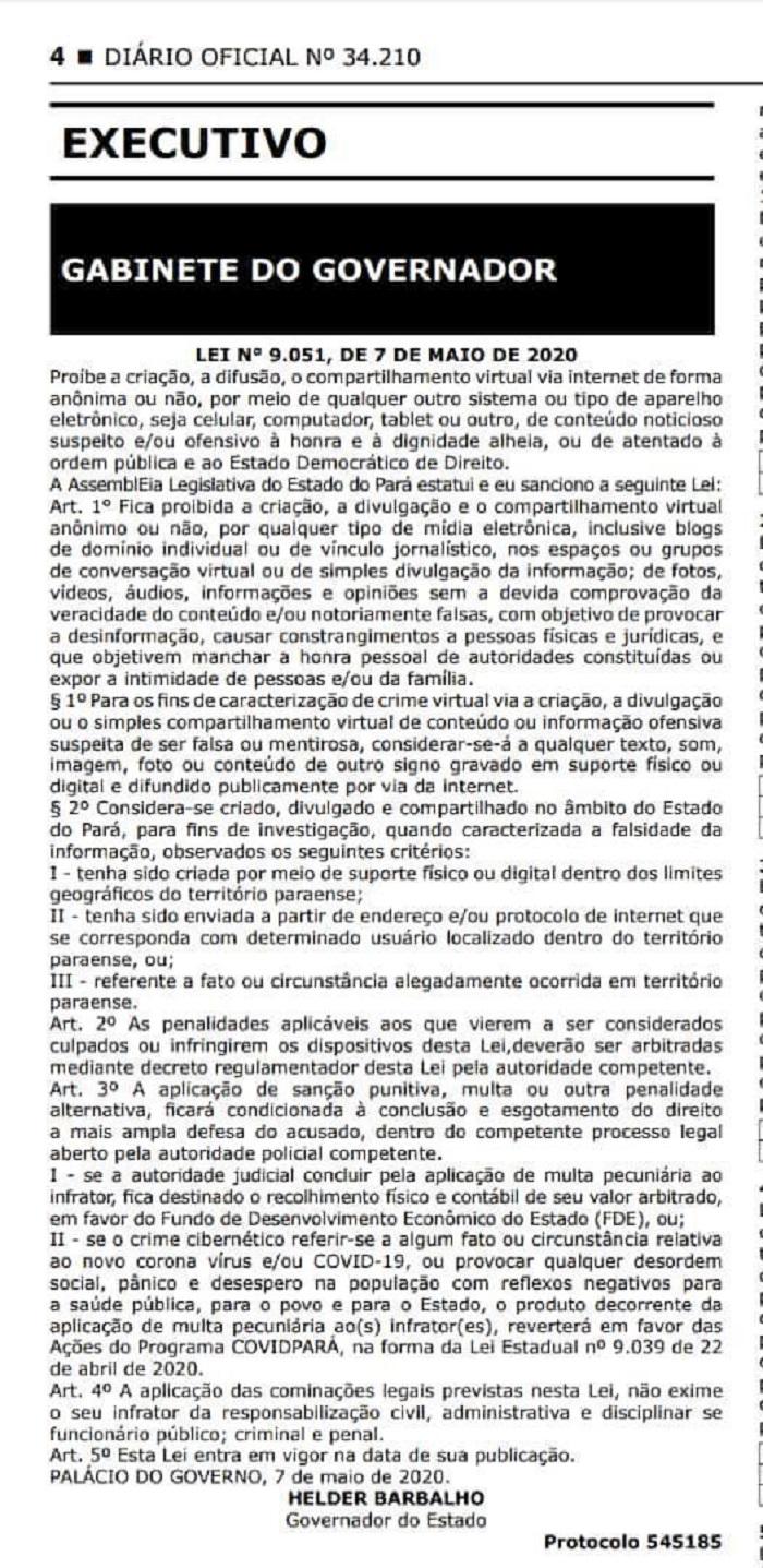 Projeto de Lei no Pará estabelecia multa para fakenews, mas cláusulas causaram discussão sobre liberdade de expressão. — Foto: Reprodução/Diário Oficial do Pará