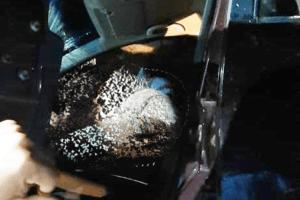 Casal no interior do veículo após acidente. Foto: reprodução