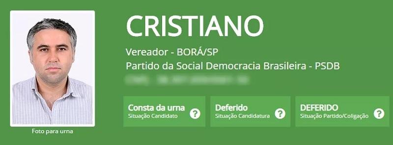Cristiano, do PSDB, foi eleito com 29 votos em Borá — Foto: TSE/Divulgação