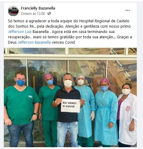 Morador de Novo Progresso vence a doença em tratamento no Hospital de Castelo de Sonhos(Foto:Facebook)