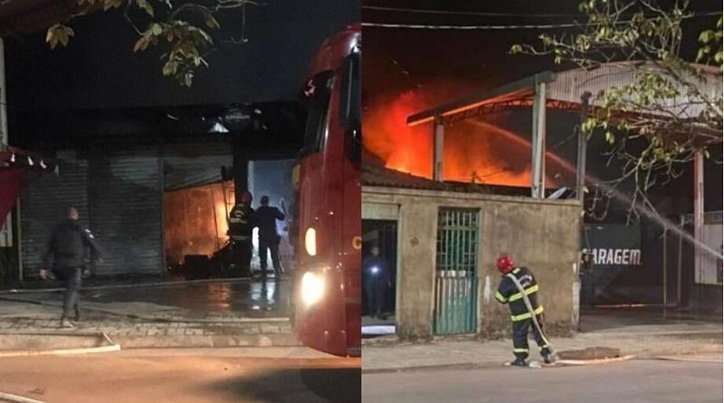Incêndio atingiu estabelecimento comercial na madrugada desta sexta-feira (30). (Foto: Reprodução)