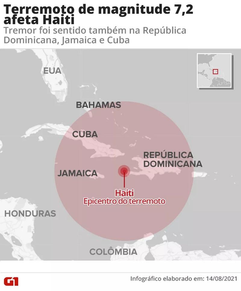 Terremoto de magnitude 7,2 afeta Haiti. — Foto: Fernanda Garrafiel / Arte G1