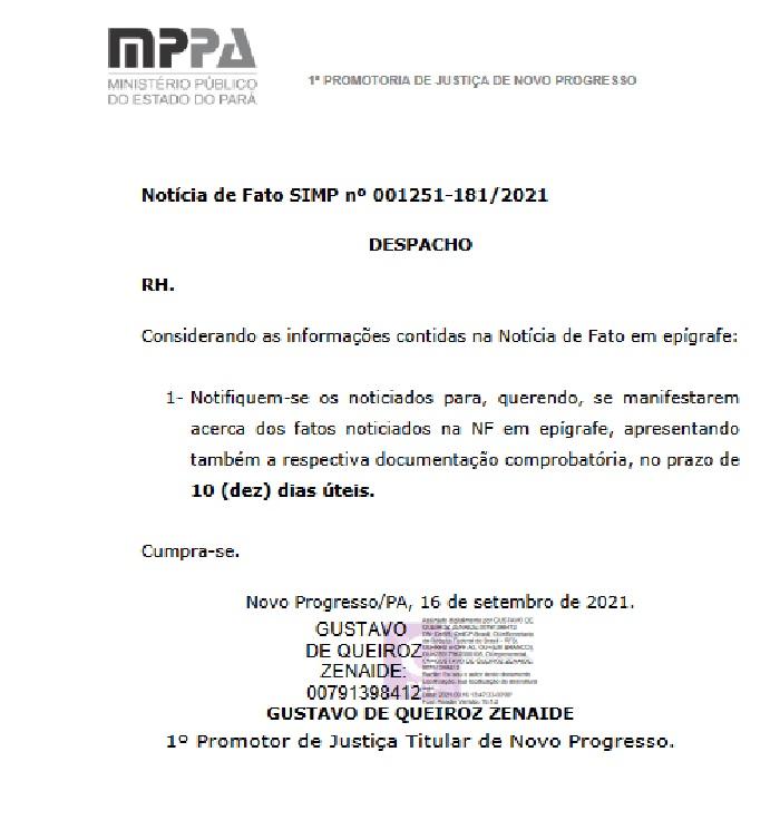 Em Procedimento, o Ministério Público deu dez dias para os envolvidos se manifestarem  ((Fonte:MP))