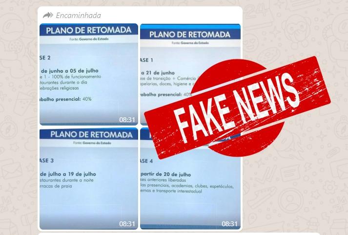 """""""Plano de retomada"""" divulgado no WhatsApp não é da Bahia"""