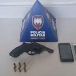 Arma e munição apreendidos no bairro São Gabriel