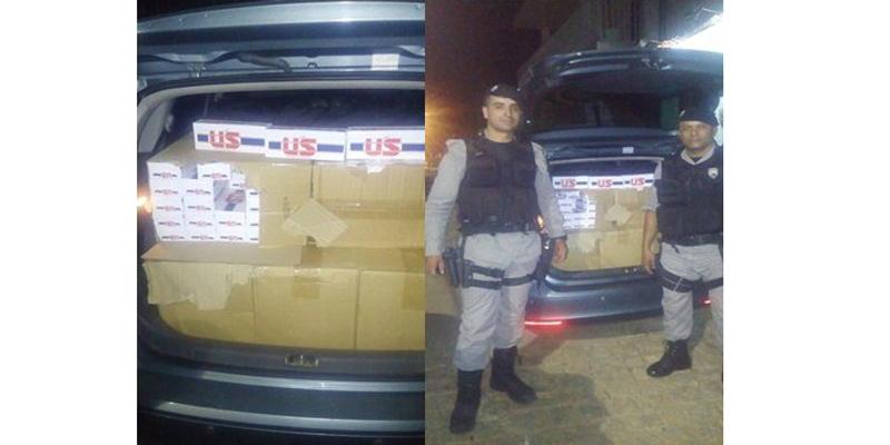 Polícia Militar apreende em São José do Bonfim 20 caixas de cigarros contrabandeados