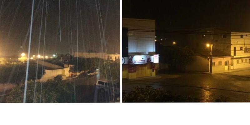 Chove forte na noite desse sábado na cidade de Teixeira