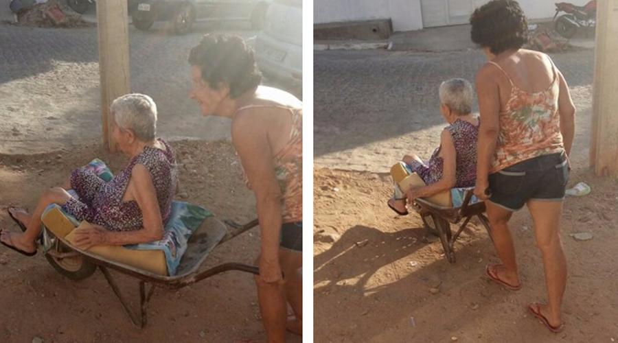 Idosa de 104 anos é transportada em carrinho de mão em Patos porque a família não tem condições de comprar uma cadeira de rodas