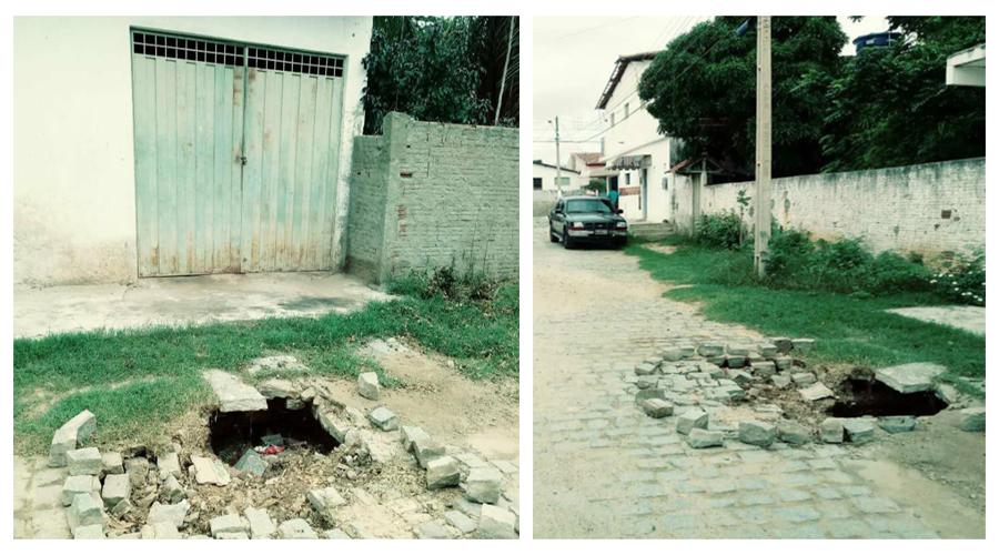 Moradores pedem conserto de galeria estourada há um mês no Mutirão em Patos