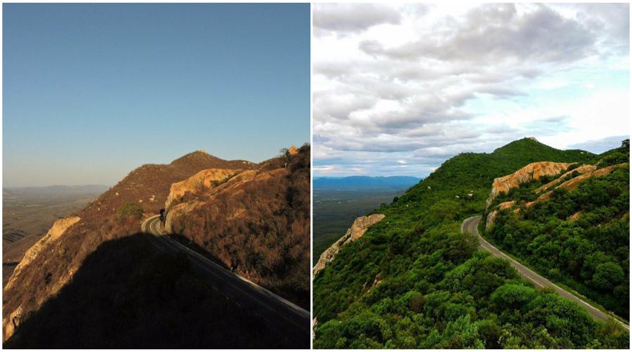 O antes e o depois: A chuva mudando a paisagem na Serra de Teixeira