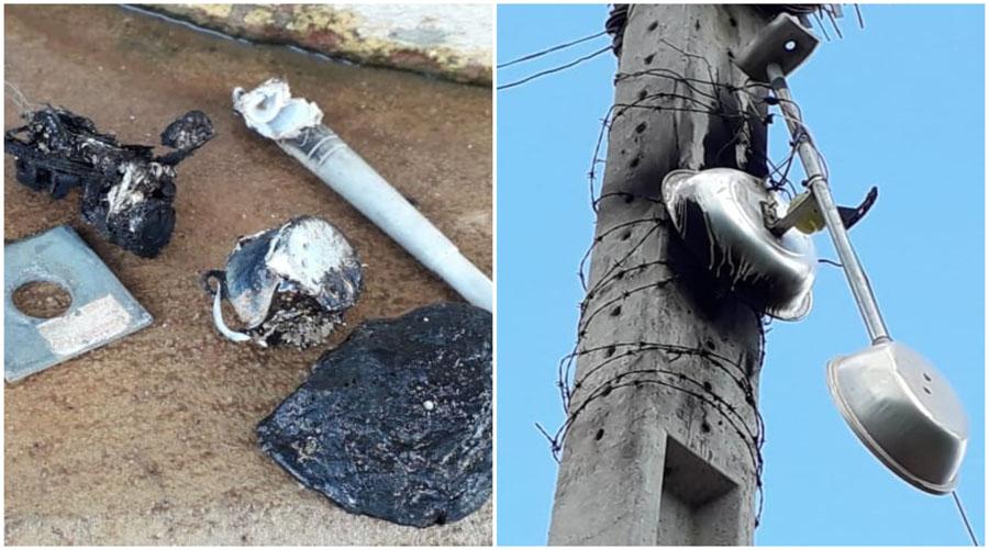 Raio destrói para-raio, incendeia poste e queima equipamentos em Matureia