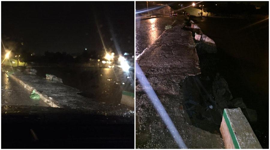 Chuva forte e preocupação em Teixeira: parede próximo ao sangradouro do Açude Novo começa a ceder