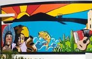 Painel pintado no Centro Cultural de Coremas valoriza a história do município
