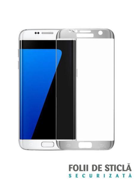 Folie curbată 3D din sticlă securizată pentru Samsung Galaxy S7 Edge SILVER (Full cover)