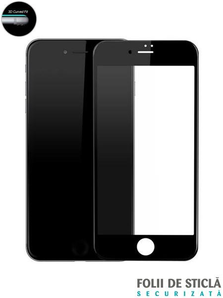 Folie curbată 3D/4D din sticlă securizată pentru iPhone 7 Plus - NEGRU