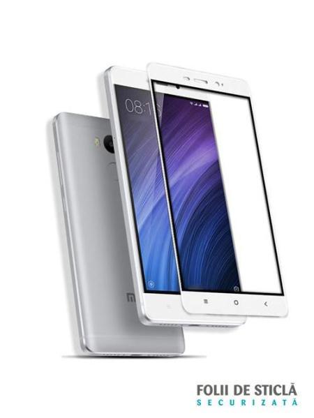 Folie Fullscreen 2.5D din sticla securizata pentru Xiaomi Redmi 4 ALB