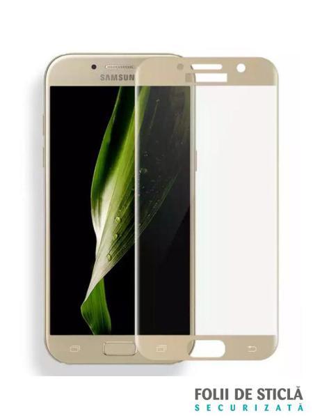 Folie curbată 5D din sticlă securizată pentru Samsung Galaxy A5 (2017) GOLD - Full glue