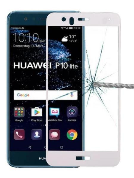 Folie ușor curbată 5D din sticlă securizată pentru Huawei P10 Lite ALB - Full glue