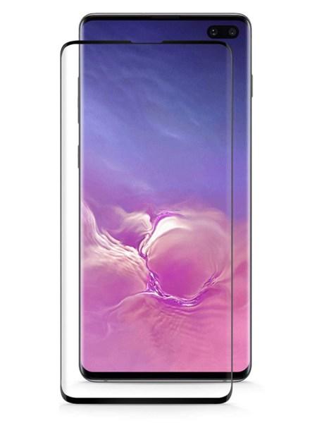 Folie curbată 3D din sticlă securizată pentru Samsung Galaxy S10+ NEGRU - Full cover