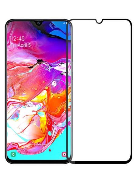 Folie curbată 5D din sticlă securizată pentru Samsung Galaxy A70 / A70s NEGRU - Full glue