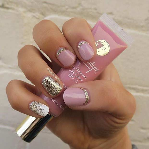 10 Cute Pink And Glitter Nail Design For Short Nails