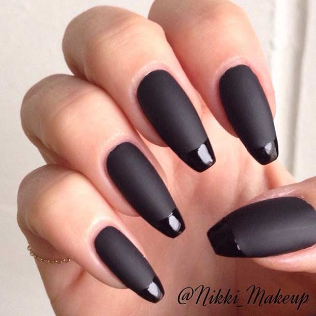 13 Black Matte French Tip Nails