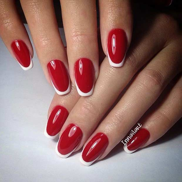 24 Red And White French Tip Nails