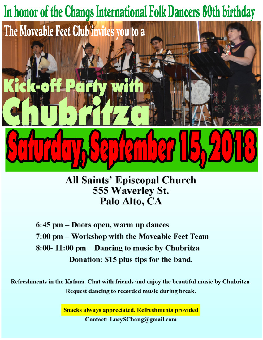 Kick-Off Party with Chubritza - Folk Dance Federation of California